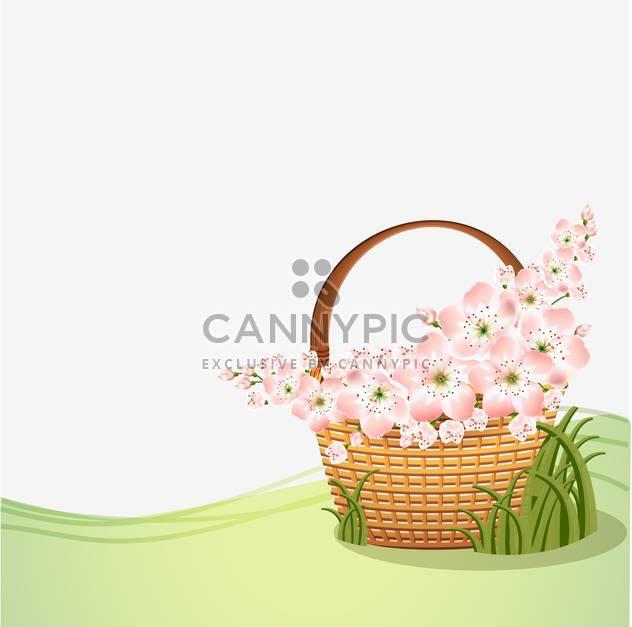 Korb mit schönen rosa Blüten mit Text-Platz - Kostenloses vector #127192