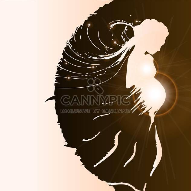 silhouette of pregnant woman on pink background - Free vector #127312