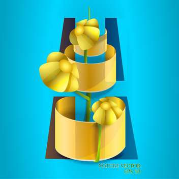 Vector illustration of flower in pot on blue background - Free vector #127332