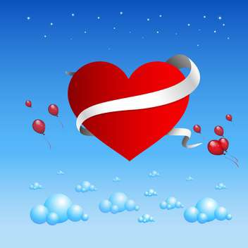 Valentine's background with balloons on blue background - vector gratuit(e) #127372