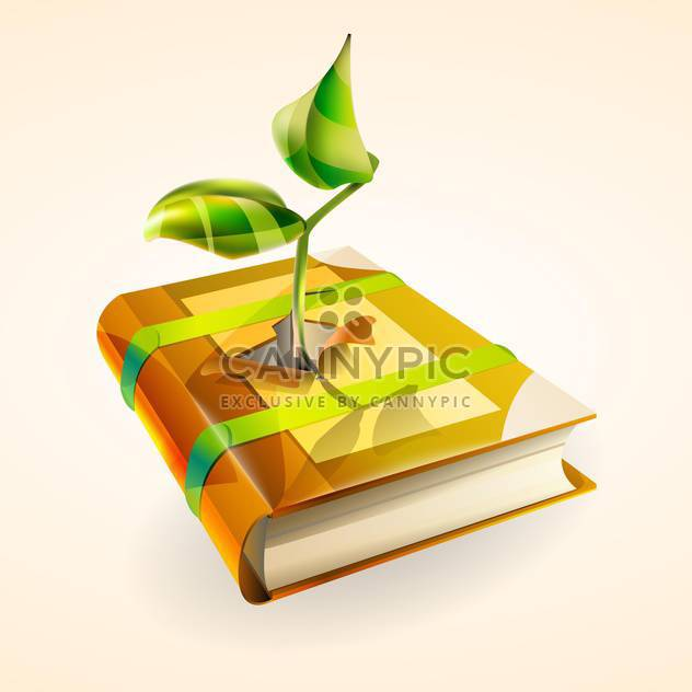 Vector illustration of green plant growing in book on pink background - Free vector #127402