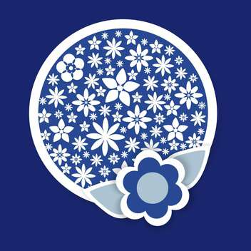 round shaped floral vector pattern on blue background - Free vector #127412