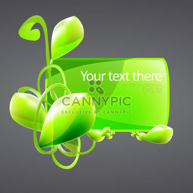 green banner with plant and text place on grey background - Free vector #127432