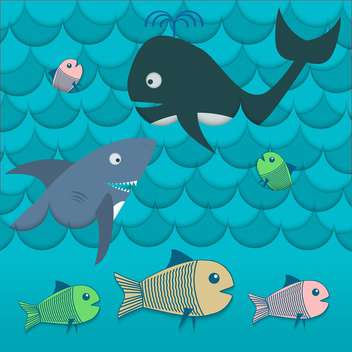 colorful illustration of different fishes in sea waves - vector #127442 gratis