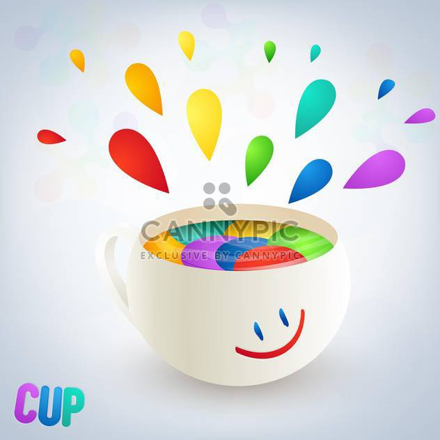 colorful burst from cup with smile on white background - Free vector #127482