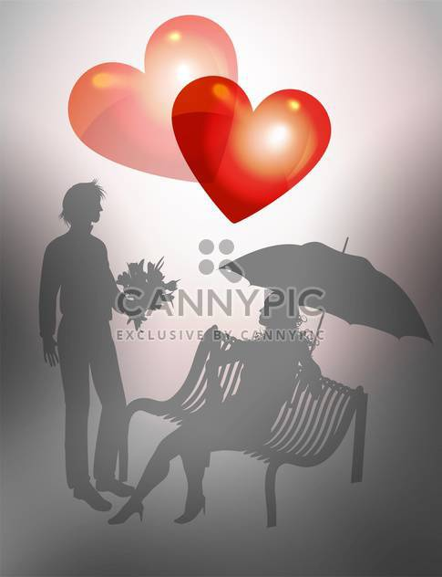 Illustration young couple on bench for valentine card - Free vector #127512