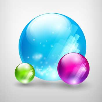 Abstract colored glossy bubbles on grey background - Free vector #127552