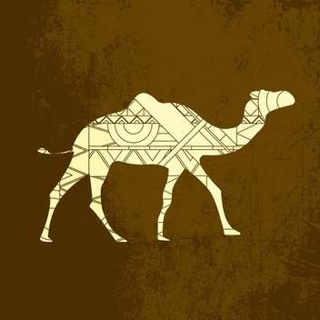 Camel decorative silhouette ornament on brown background - vector #127572 gratis