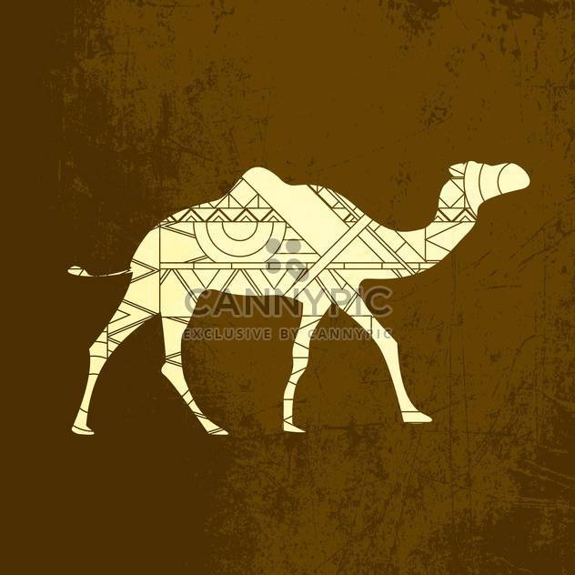 Camel decorative silhouette ornament on brown background - Free vector #127572