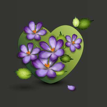 beautiful lilac flowers in green heart - vector gratuit #127592