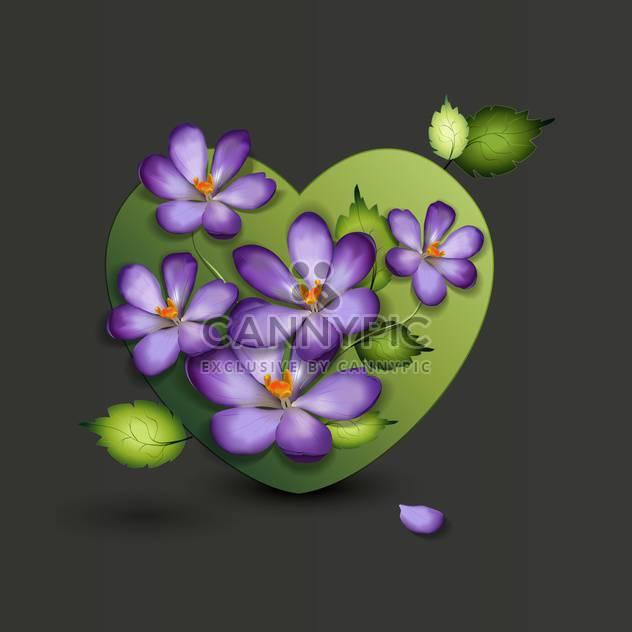 schöne lila Blumen im grünen Herzen - Kostenloses vector #127592