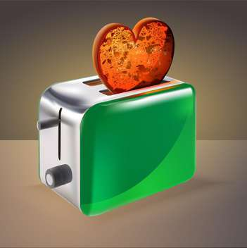 vector illustration of toaster with heart shaped toast on brown background - vector gratuit(e) #127612