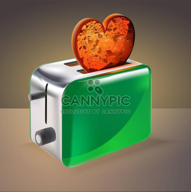 vector illustration of toaster with heart shaped toast on brown background - Free vector #127612