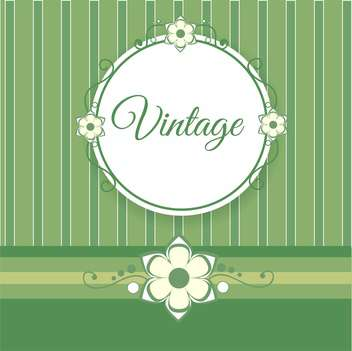 Vintage green background with flowers and text place - vector gratuit #127622