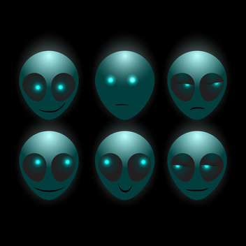 Set of vector alien faces on dark background - Free vector #127672