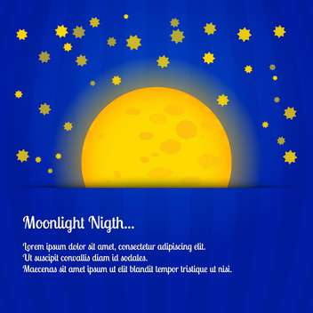 colorful illustration of big yellow moon on blue night sky - vector gratuit #127752