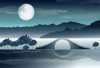vector illustration of river bridge with reflection - бесплатный vector #127812
