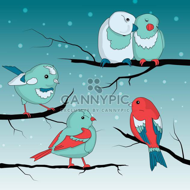 Cute little sparrows on wintry braches - Free vector #127842