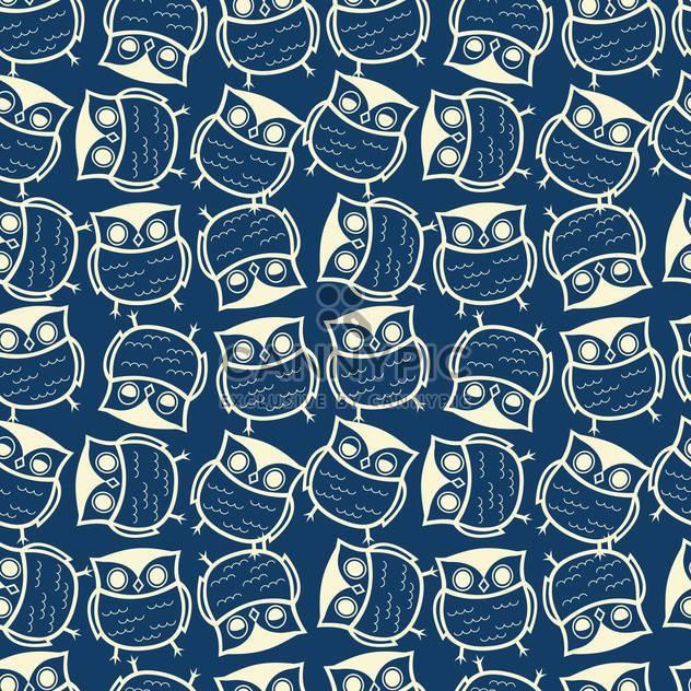 Niedliche nahtlose blauer Hintergrund mit Eulen-Muster - Kostenloses vector #127882