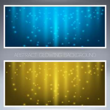 two sparkling frames in yellow and blue colors on grey background - vector gratuit #127922