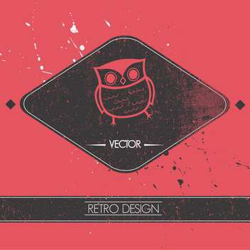 vector illustration of card with retro owl - Free vector #127942