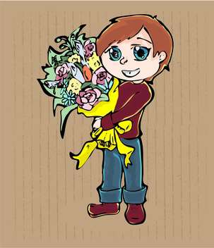 vector illustration of cartoon boy with bouquet of flowers on brown background - бесплатный vector #127952