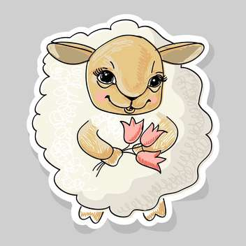 cute cartoon sheep and flowers on grey background - vector gratuit #127972