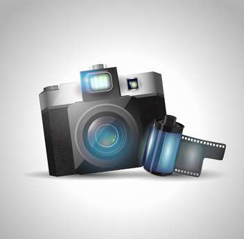 vector illustration of photo camera and film on grey background - vector gratuit(e) #128032