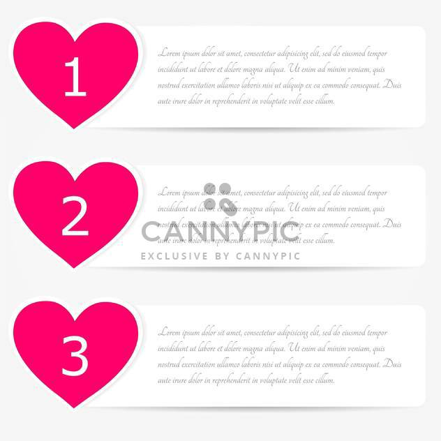 vector set of web heart shaped banners with text place - Free vector #128102