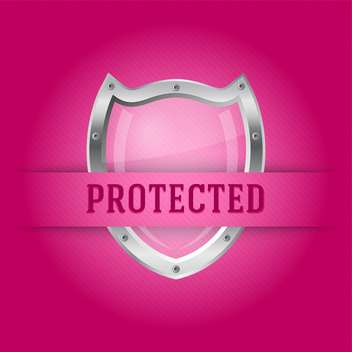 Protect silver shield on the pink background - vector gratuit #128122