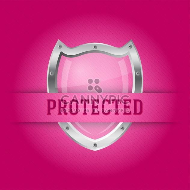 Protect silver shield on the pink background - Free vector #128122