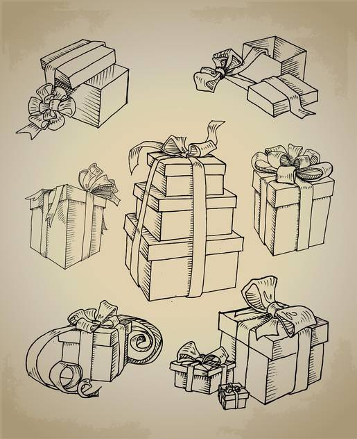 Set with vector gift boxes icons - vector gratuit #128142