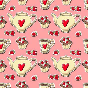 Vector cupcakes and teapots background - vector gratuit(e) #128222