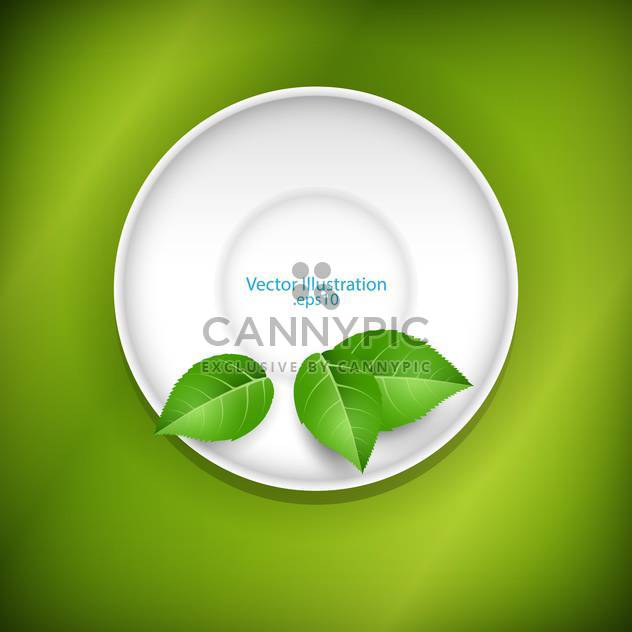 Green leaves on a white saucer - Free vector #128292