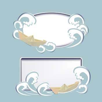 Two vector frames with paper boats and in waves - Kostenloses vector #128302