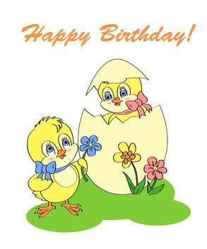 Birthday greeting card with two newborn chickens - Free vector #128312