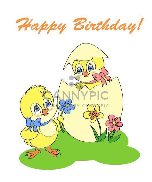 Geburtstag Grußkarte mit zwei Neugeborenen Hühner - Kostenloses vector #128312