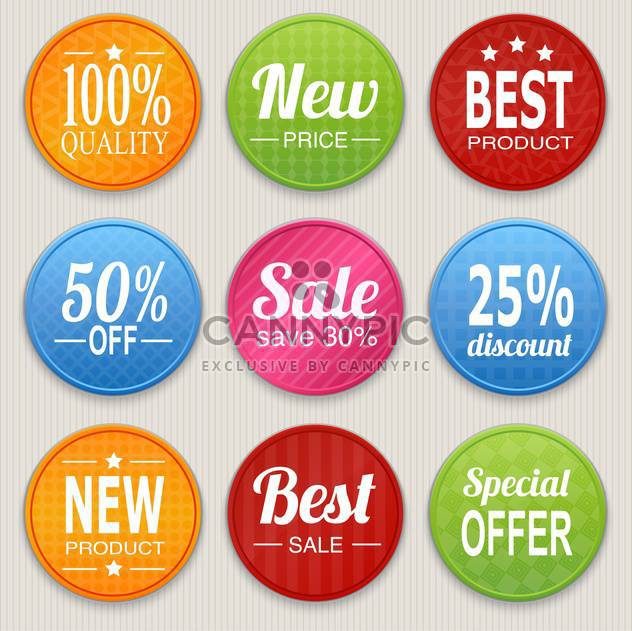 Set mit bunten Werbung Aufkleber einkaufen - Kostenloses vector #128332