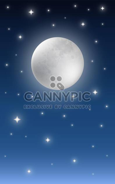 Full moon on starry night sky background - Free vector #128362