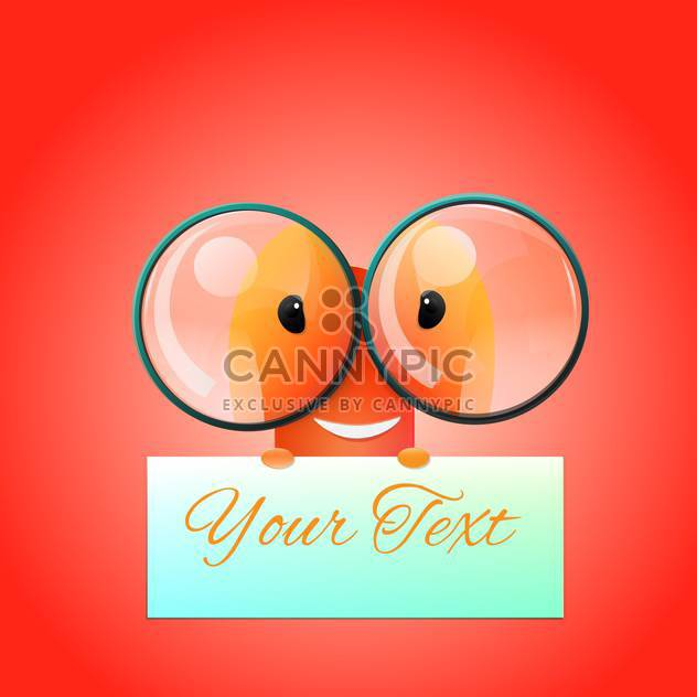 Vector illustration of cartoon egghead with plate for your text on red background - Free vector #128482
