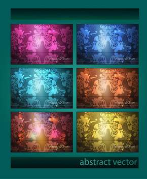 Vector set of colorful vintage backgrounds. - Free vector #128492