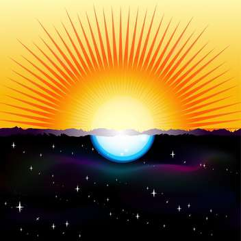 Vector illustration of a split-screen showing the Sun and the Moon - vector gratuit #128502