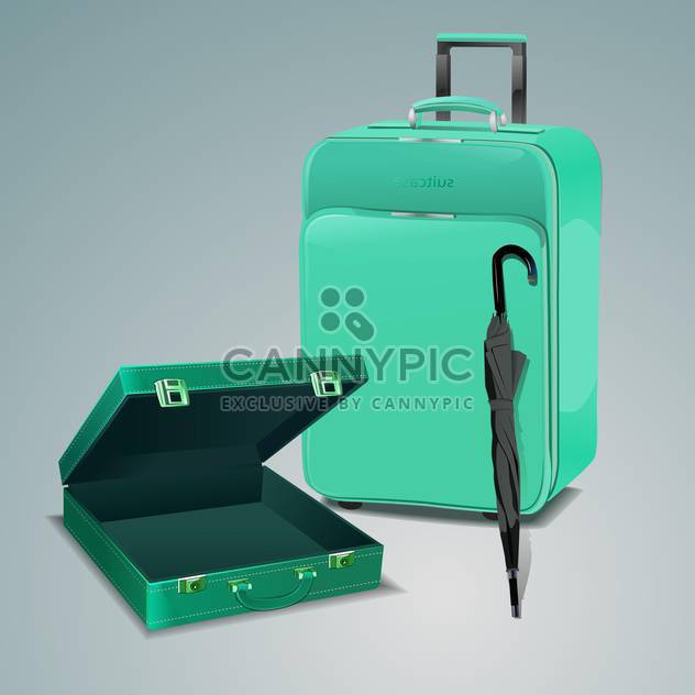 Vector illustration of pile of luggage and green travel bag with umbrella. - Free vector #128632