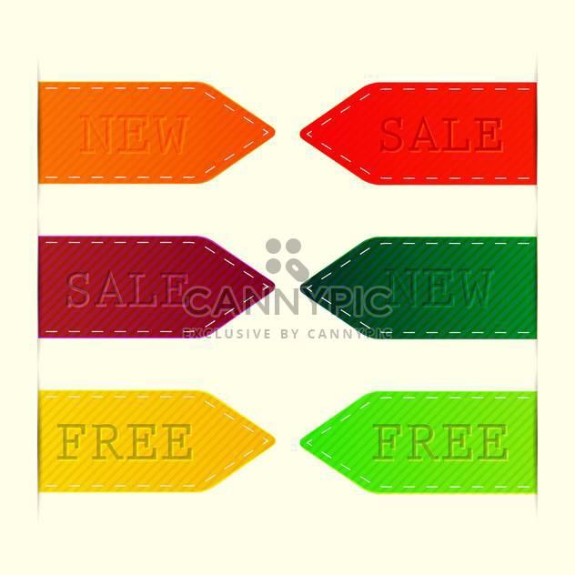 Vektor-Reihe von bunten Etiketten - Verkauf, neue, kostenlose - Free vector #128692