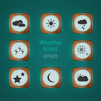 Vector Weather icons on green background - vector gratuit #128702
