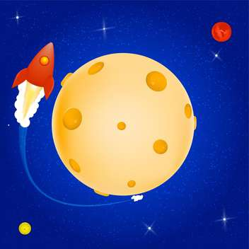 Vector illustration of space rocket orbiting around the Cheese planet. - Free vector #128752