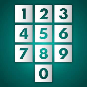 Vector set of numbers from nine to zero on green background - бесплатный vector #128762