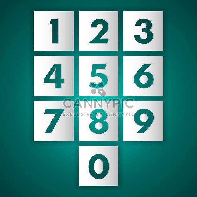 Vector set of numbers from nine to zero on green background - Free vector #128762