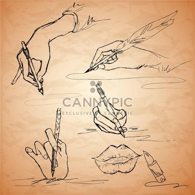 Vektor-Illustrationen einer Hand schreiben mit einer Schreibfeder, Lippen, Lippenstift - Kostenloses vector #128812