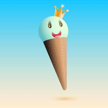Vector illustration of smiling ice cream with crown - vector gratuit(e) #128842